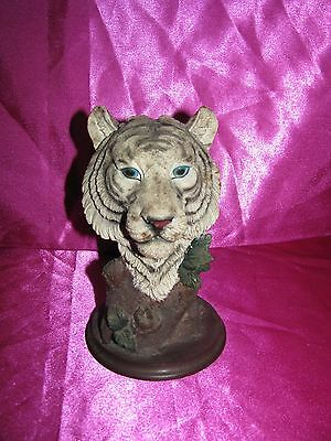 White Bengal Tiger Head Face table Decoration Decor Figure resin