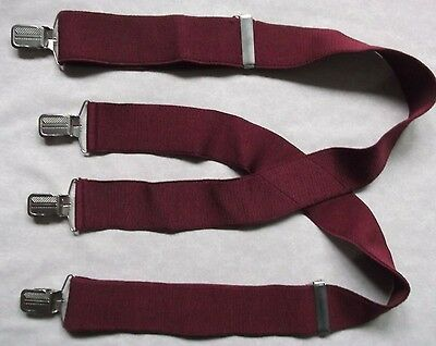 VINTAGE BURGUNDY BRACES MENS RETRO 1980s 1990s WIDE CHUNKY STOCKBROKER ONE SIZE