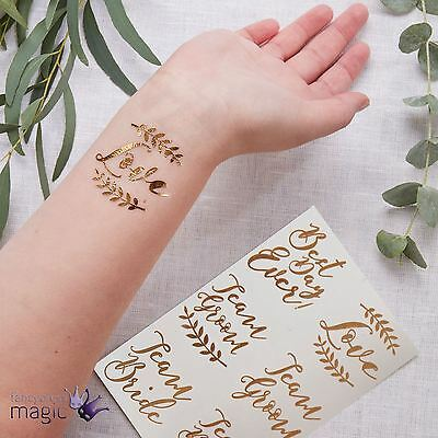 Ginger Ray 12 Rose Gold Metallic Temporary Foil Tattoos Wedding Party Novelty