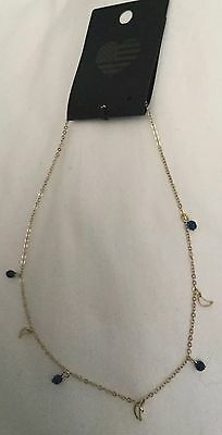 New Brandy Melville Mini Crescent Moons Blue Beads Necklace