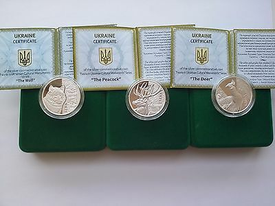 Set Three Ukraine  coins, 5 UAH Wolf , Deer ,Peacock silver coin 2016 year