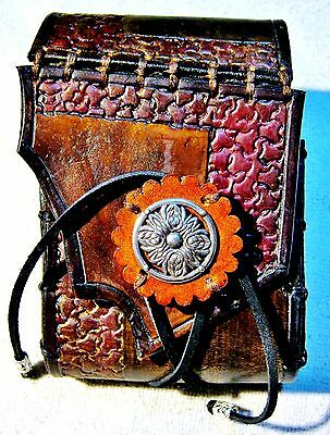 Small Tooled Scrap Edged Flap Browns with Nickle Button Pirate Plunder Pocket