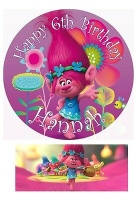 Poppy Trolls Movie 2016 Personalised Edible Cake toppers 7 Inch or cupcakes