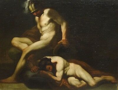 17th Century Italian Old Master Achilles Death of Patroclus Nude Oil Painting