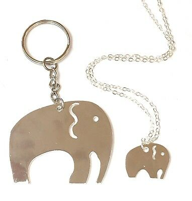 Mother and daughter elephants set - necklace and keyring, each in a gift box