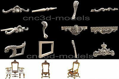 3D STL Models for CNC Router Carving Artcam Aspire Furniture Chair Stool 224
