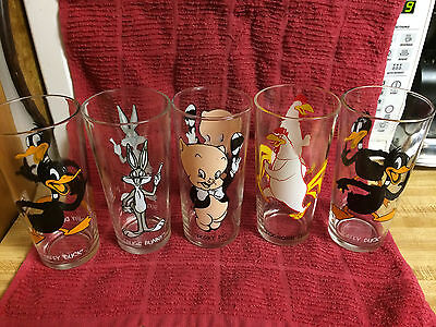 Vintage 1973 Pepsi Looney Tunes Collectible Drinking Glasses set of 5
