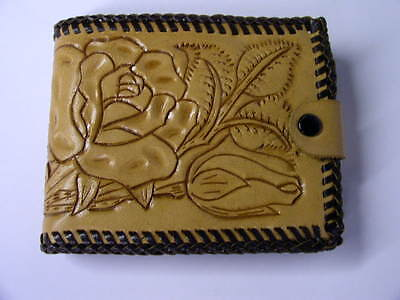 Vintage Unused Hand Tooled Bifold Wallet Billfold Embossed Leather Rose ~ Roses