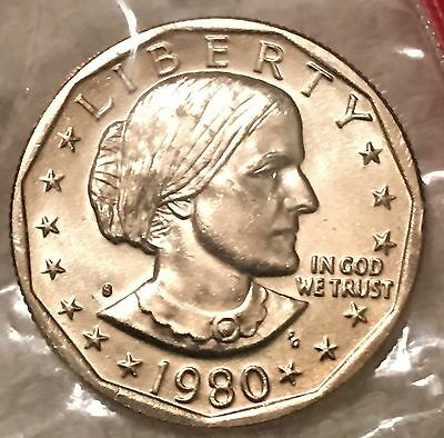 1980-S Susan B. Anthony Dollar Unc In Mint Cello Wow Look