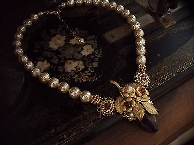 Vintage Uncut Amethyst, Baroque Pearl & Seed Beads Necklace