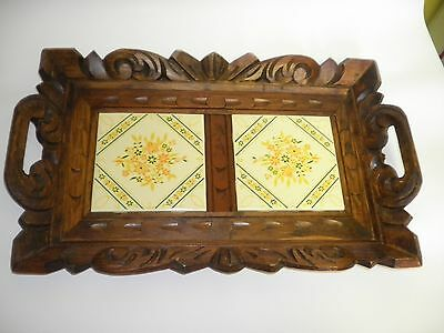 Vintage Rustic Carved Wood with Tile Insert Serving Tray