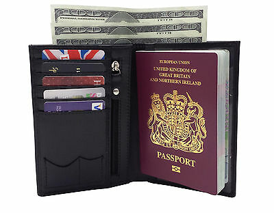 RFID Blocking REAL LEATHER PASSPORT TRAVEL WALLET COVER HOLDER ORGANISER
