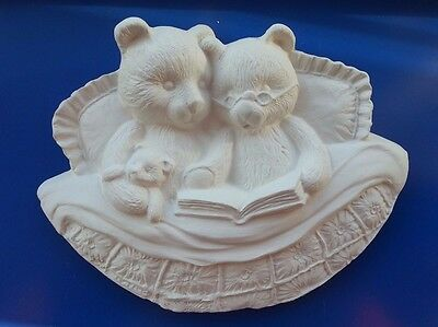 ceramic bisque, Reading Teddy Bear Plaque Ready to paint or glaze, Approx. 160mm