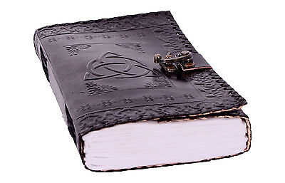 Handmade Leather Journal Diary mens Day Organizer Planner triquetra knot embssed