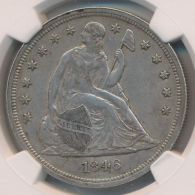 USA $1 Dollar Seated Liberty 1846 NGC AU53