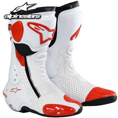 Alpinestars S-MX Plus Racing Boots White/Red SIZE 6.5