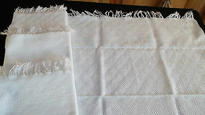 "French antique towels ""toilette"" woven in top & bottom bands hand made fringes"