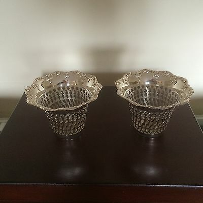 Beautiful Pair Of Silver Plated Pierced Pot Plant Holders