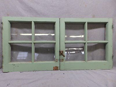 Pair Antique Casement Windows Cabinet Cupboard Pantry Door Bookcase Vtg 61-17R