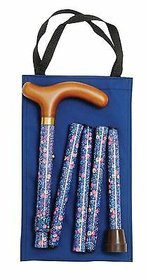 LADIES Adjustable Fashion Folding WALKING STICK By Classic Canes Blue Floral
