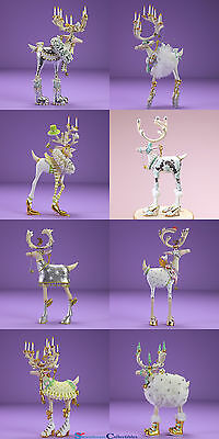 Patience Brewster Set of 8 Mini Moonbeam Dashway Reindeer Ornaments