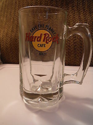 Excellent Condition! Hard Rock Cafe - MAUI Save the Planet Glass Beer Mug Stein
