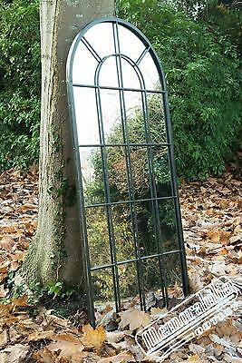 Large  Black Multi Panelled Arched Window Garden Outdoor Mirror 4ft7 x 2ft2