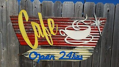 Cafe Mid-Century Retro Painted Flat Metal Sign FREE SHIPPING