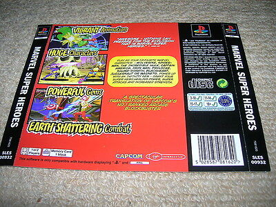 MARVEL SUPER HEROES – PS1 PAL Rear Box Art Insert Only