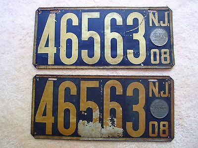 Antique Matched Pair 1908 New Jersey License Plates First State Issue NO INTLSHP & ANTIQUE MATCHED PAIR 1908 New Jersey License Plates First State ...
