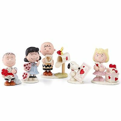 Lenox Peanuts Valentine's Day Figurines 5 PC Party Charlie Brown Snoopy Lucy NIB