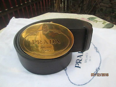 Prada Milano Italy Brown Calf Leather Belt Bronze Buckle Logo Signature Size 80