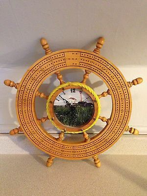 "Nice Hand Crafted Ships Wheel Cribbage Board With Clock, 19.5"" In Diameter"