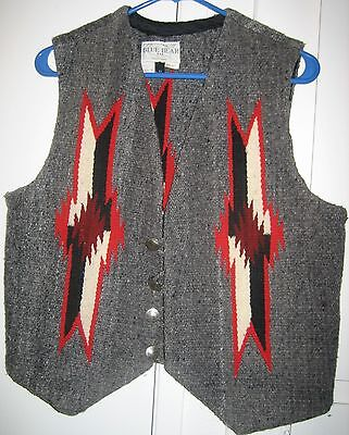Men's 100% Wool Mexico Hand Woven Blanket Vest, Chimayo Style Native American, M