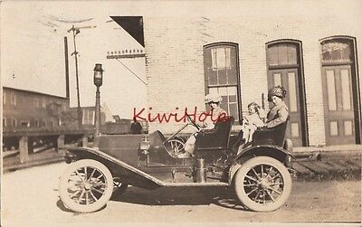 Postcard RPPC Antique Car Women + Children Driving