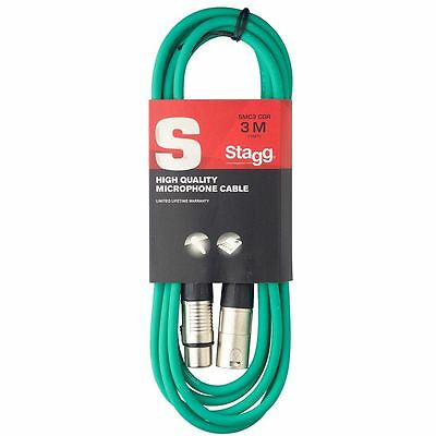 Stagg SMC3CGR High Quality Microphone Cable XLR-XLR Plug 3m - Green