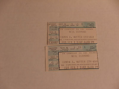 Neil Diamond Front Row Concert Ticket Stubs (2) February 7, 1992 FREE SHIP - CB1