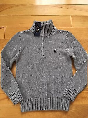 Polo Ralph Lauren Boys Half Zip Sweater Gray Navy Pony Logo NWT Size Large 14-16