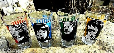 """The Beatles Drinking Collectible Glasses Set of 4 Apple 6"""" Tall Pint 16 oz 2011"""