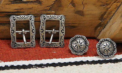 """Two Jeremiah Watt 5/8"""" Cart Buckles & Two 1"""" Conchos Black Floral NEW FREE SHIP"""