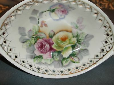 Meissen Porcelain Bowl/Dish Reticulated Clawed feet small Floral beautiful