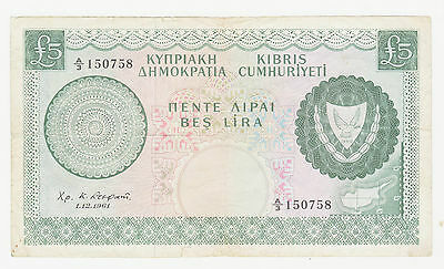 Cyprus 1961 Green Banknote £5 Five 5 Pounds Rebuplic Of Cyprus 7573