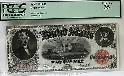 1917 Series United States Note Fr.60  $2 Two Dollar Bill PCGS 35 VERY RARE!