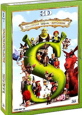 Shrek 1-4: Collection 3D + Puss in Boots 3D (5-Blu-ray 3D in one Box) RegionFREE