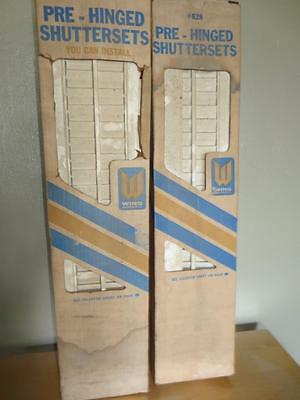 Vtg WING Industries NOS Pre-Hinged Wood Shuttersets