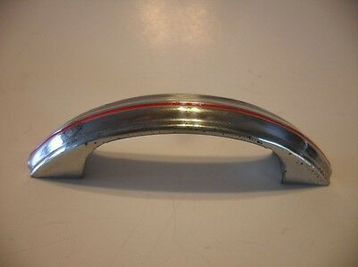 Vintage CHROME Drawer Pull Cabinet Door Handles Single RED Line w Raised Face