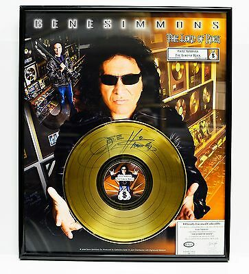 Gene Simmons KISS The Lord of Rock Gold Record Signed Framed Limited Edition