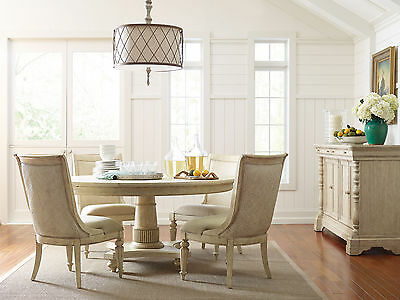 REGALL - 5pcs Traditional White Round Dining Room Table & Chairs Set Furniture