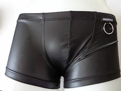 Men clubwear BOXER shiny WETLOOK Latex Leather look with ring
