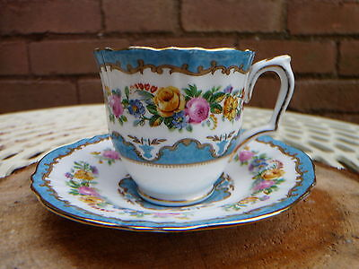 Crown Staffordshire Demitasse Coffee Cup / Can and Saucer Chintz Flowers China